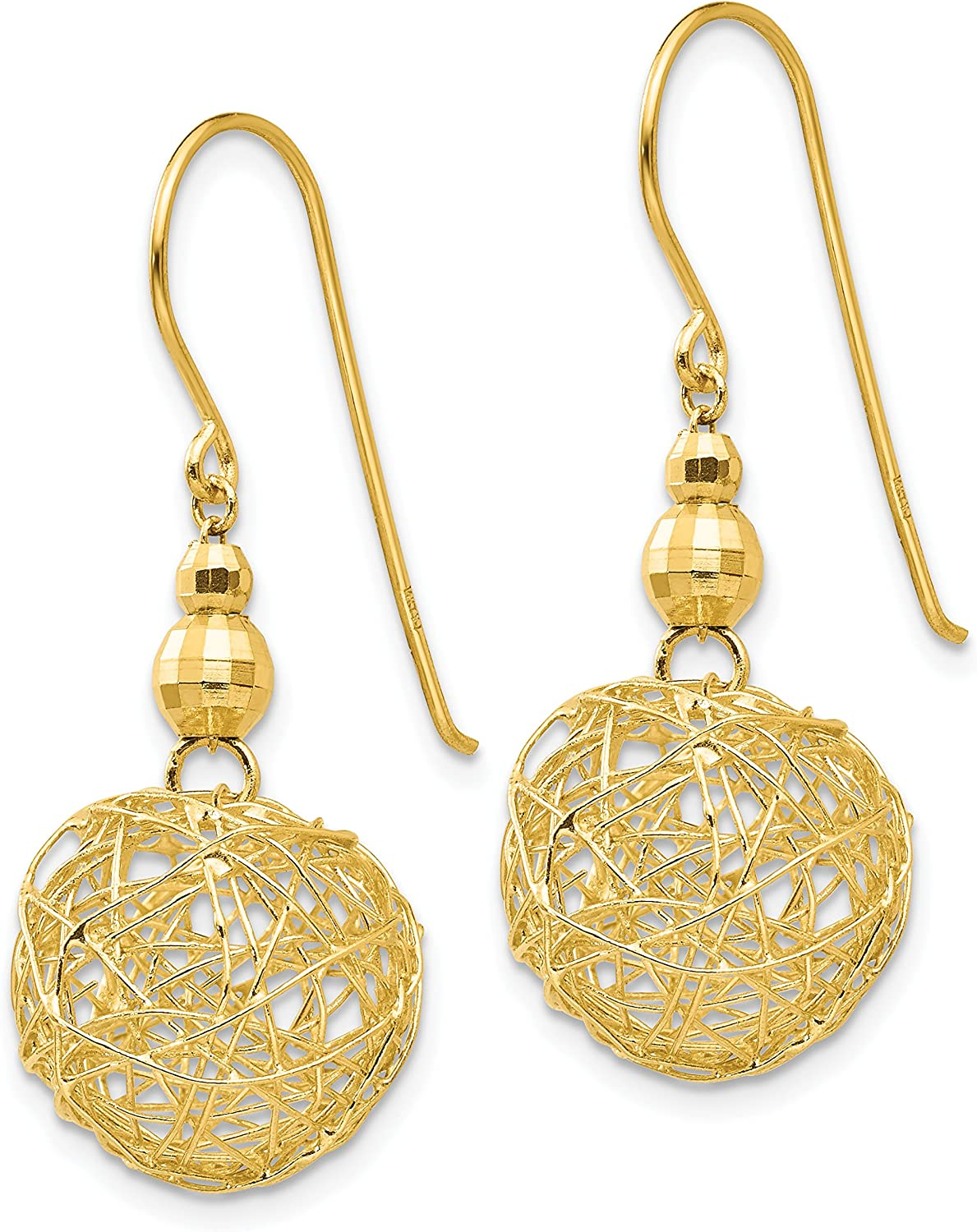 14K Yellow Gold Mirror Bead and Wire Ball Earrings (Approximate Measurements 31mm x 13mm)