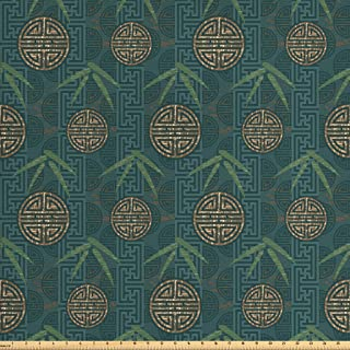 Ambesonne Bamboo Fabric by The Yard, Style Composition with Oriental Motifs Leaves Eastern Elements, Decorative Fabric for...