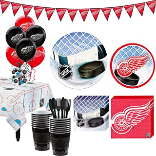 Party City Super Detroit Red Wings Party Kit for 16 Guests, Includes Table Cover, Decorations and Tableware