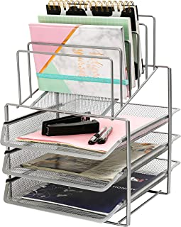 Exerz Desk Organizer Wire Mesh 3 Layer Sliding Letter Trays with 5 Upright Sections/Dividers/Paper Sorter/Desk Multifunctional File Holder Filing Shelves for Office, School (EX2428-SLV)