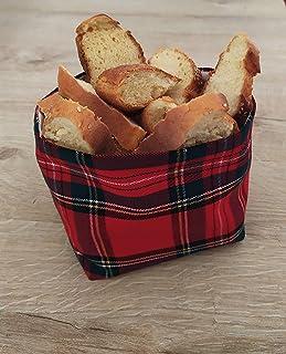 GIACALLON - Portapane tartan in cotone Fatto a Mano per il Pane tessuto tartan - Porta cialde oggetti frutta secca Cioccol...