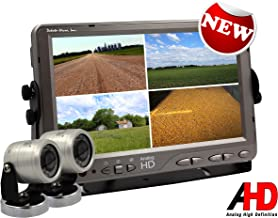 AgCam High Definition Backup Camera System, 9in Quad Backlit LED Monitor w/2 Cameras. Waterproof Rear View System Perfect for Tractors, Cattle, Trailers, Campers & Construction Equipment. Made in USA