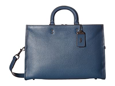 COACH Rouge Brief in Glovetan Leather (Dark Denim) Briefcase Bags