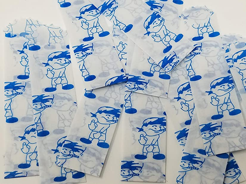 Vellum Glassine Stamp Wax Paper Envelope Bags, Colors & Designs, Small, 20mm/22mm (Blue Boy, 100 Bags)