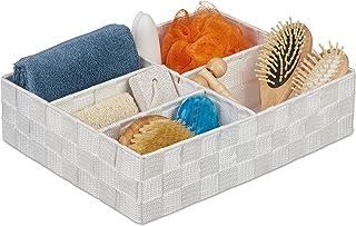 Relaxdays 10035330_49 Panier, 5 Compartiments, carré, tressé, Plastique PP, Rangement, Corbeille de Stockage, Blanc, 1 unité