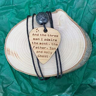 Wooden guitar pick shape pendant with your favourite lyrics, words, verse or saying engraved.Gift boxed ready for giving.