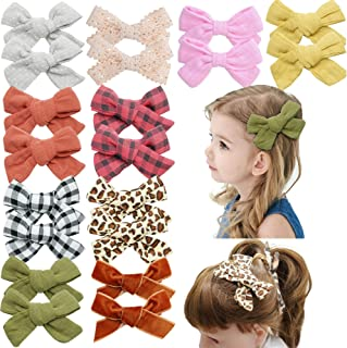 Qearl 20 Pieces Baby Girls Hair Bows Clips Linen Bows With Fully Lined Clips Hair Barrettes Hair Accessories for Little Gi...