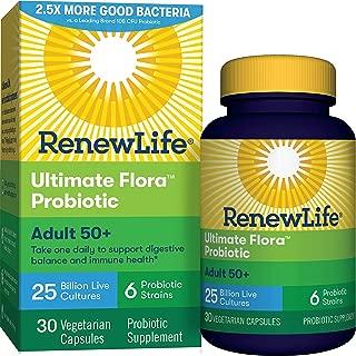Renew Life®  Adult Probiotic - Ultimate Flora™ Adult 50+ Probiotic Supplement - Shelf Stable, Gluten, Dairy & Soy Free - 25 Billion CFU - 30 Vegetarian Capsules