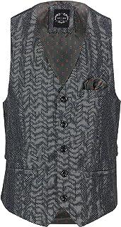 Tyler Men's Herringbone Tweed Classic Smart Tailored Fit Waistcoat Retro 1920s Vest
