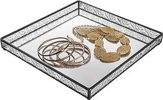 Glass Tray Mirrored Bottom Decorative Bathroom Vanity Makeup Organizer Jewelry Display Perfume Holder Dresser Décor Candle Tray 10 x 10 Square J Devlin Tra 102
