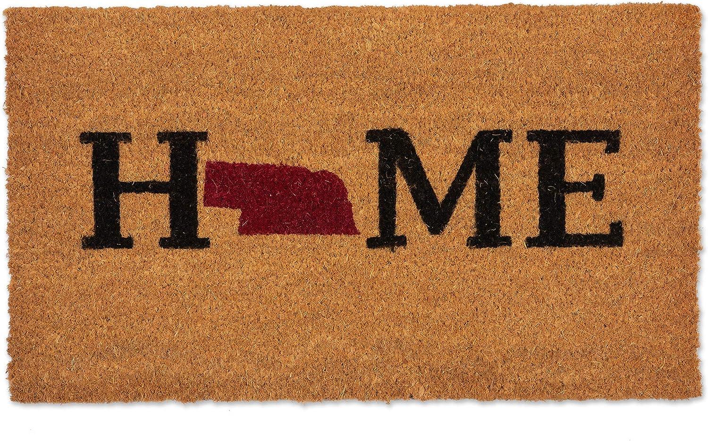 J & M Home Fashions 10653JA Natural Coir Coco Fiber Non-Slip Outdoor Indoor Doormat, Heavy Duty Entry Way shoes Scraper Patio Rug Dirt Debris Mud Trapper Waterproof, 16 x 28 Nebraska Home