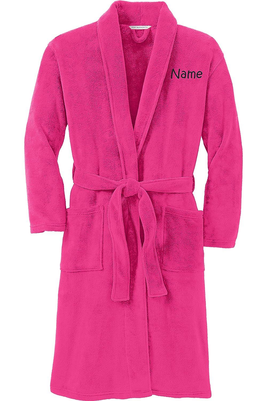Personalized Plushマイクロフリースローブ刺繍入り名前、ピンクラズベリー