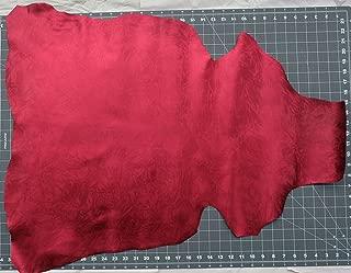 Kid Skin Goat Leather Hide Red Metallic Patern Italian 3-5 sq.f Shoes Bags Wallets