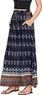 Women's Boho Vintage Print Pockets A Line Maxi Skirt