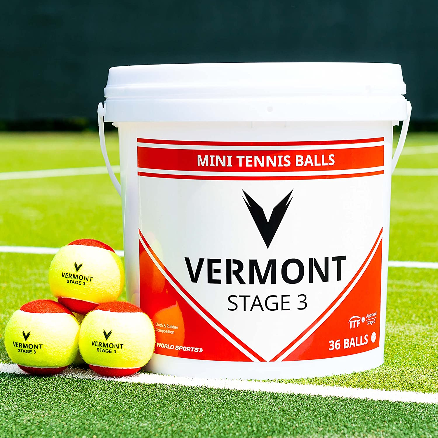Vermont Red Stage Tennis Balls – Stage 3 Tennis Balls  ITF Approved – 75mm Diameter  36Ball Bucket – Extremely Durable – MultiSurface Tennis Balls – Red & Yellow color [Net World Sports]