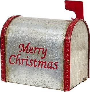 RAZ Imports Merry Christmas Rustic 7.5 x 6.5 Inch Galvanized Metal Decorative Mailbox