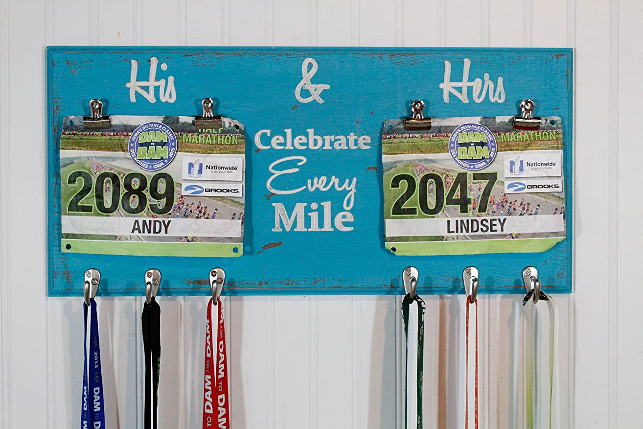 His and Hers Race Medal Holder With Celebrate Every Mile - Carved Sign - Running Medal Holder- Bib Holder