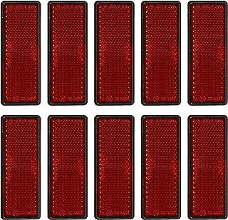 CLISPEED 10Pcs Stick- On Retangular Refletor Reflexivo Etiqueta Do Carro Aviso de Segurança Refletor Strips (Vermelho)