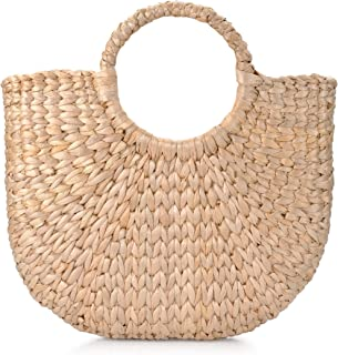 Hand-Woven Straw Handbag Round Handle Ring Toto Retro Casual Summer Beach Bags