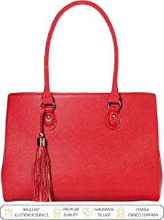 Laptop Tote Bag for Women - Luxury Designer Computer Bag - Handmade Vegan Leather Laptop Shoulder Bag Multi-Pocket 13 Inch Computer Purse Laptop Handbag Carry on Bag - Travel Bags Women
