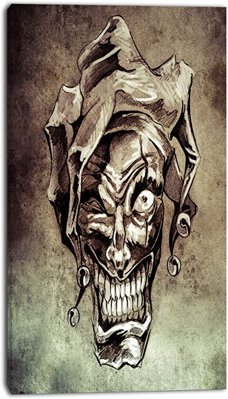 Designart Fantasy Clown Joker Tattoo Sketch Digital Art Metal Wall Art Mt7822 12x28 12x28 Posters Prints