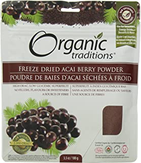Organic Traditions Freeze Dried Organic Powder, Acai Berry, 3.5 Ounce
