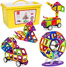 Best Choice Products 254-Piece Kids Magnetic Building Block Tiles Educational STEM Toy Set w/ Storage Box - Multicolor