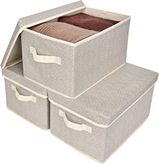 GRANNY SAYS Closet Organizer Bins with Lid, Storage Basket for Shelves, Closet Bins with Handle, Home and Office Box Organizer, Beige, Large, 3-Pack