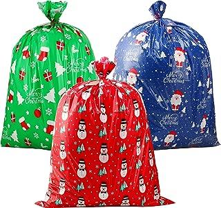 CCINEE 3 PCS Christmas Giant Gift Bags Santa Claus Christmas Sacks for Kids Gift Wrapping Bags(36