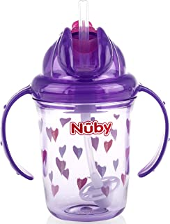 Nuby 2-Handle Printed No-Spill Thin Flip-It W/360 Weighted Straw Cup, Hearts/Purple