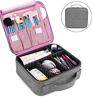 Makeup Bag Travel Cosmetic Bag for Women Nylon Cute Makeup Case Large Professional Cosmetic Train Case Organizer with Adjustable Dividers for Cosmetics Make Up Tools Toiletry Jewelry,Gray