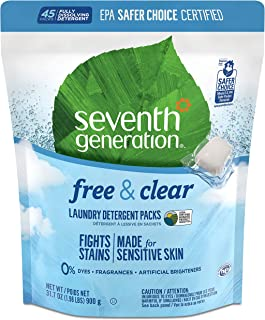 Seventh Generation Laundry Detergent Packs, Free & Clear, 90 Loads (2 Pouches, 45ct ea)