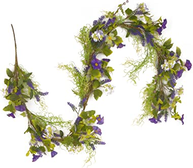 National Tree 72 Inch Branch Garland with Mixed Purple Flowers and Green Leaves (RAS-LFG50800-1)