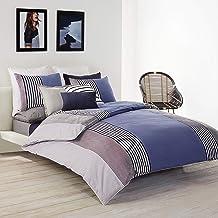 لاكوست طقم مفرش سرير قطن , كينغ , ازرق/ابيض
