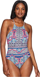 0a49f32765 Tommy Bahama Riviera Tile Reversible High-Neck One-Piece Swimsuit Cerise  Size 8