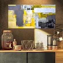 Designart Grey and Yellow Blur Abstract - Canvas Art Print, 32x16,
