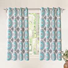 DriftAway Bella Medallion and Floral Pattern Room Darkening and Thermal Insulated Grommet Window Curtains 2 Panels Each 52 Inch by 63 Inch Aqua and Gray
