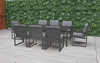 FurnitureOkay Manly 9pc Aluminium Outdoor Dining Setting Patio Furniture Set