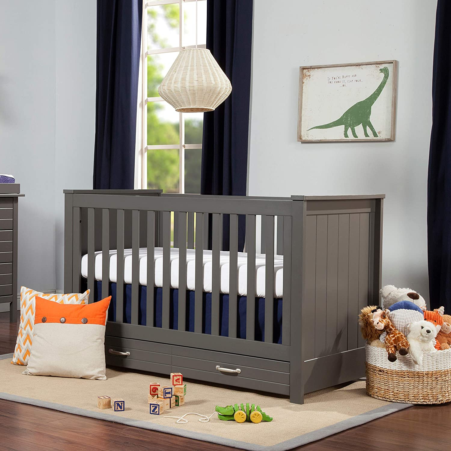 Crib DaVinci Asher 3-in-1 Convertible Crib with Toddler Bed Conversion Kit in Slate Two Beds