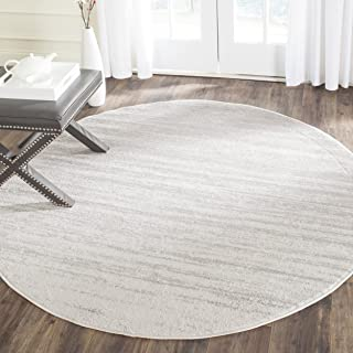 Safavieh Adirondack Collection ADR113B Ivory and Silver Modern Abstract Round Area Rug (8' Diameter)