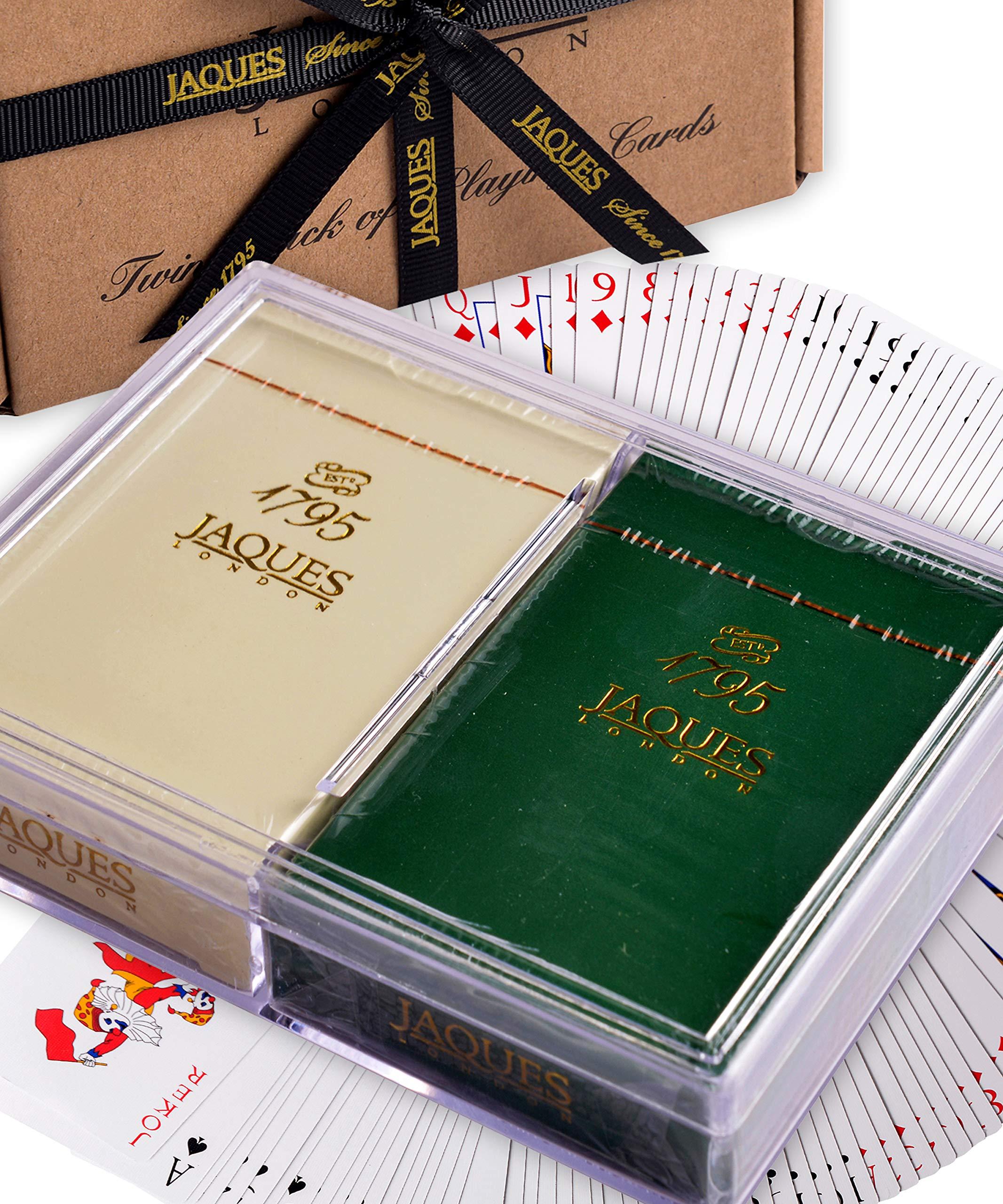 Jaques Naipes de Calidad of London - Baraja de Acabado con Acabado plasti - Juego de Cartas Twin Pack con Estuche de plástico Resistente: Amazon.es: Juguetes y juegos