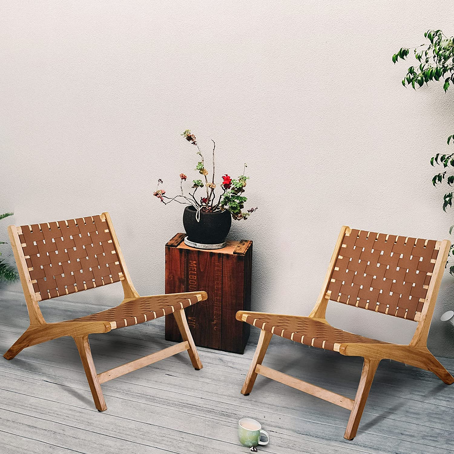 Artificial Brown Woven Leather Max 65% OFF Accent Chairs of Set 2 Cognac Lou Trust