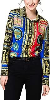Women's Casual Long Sleeve Button Down Shirts Basic Collar Print Blouses Tops