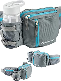 Aquatic Way Waist Bag Fanny Pack with Water Bottle Holder for Men Women Running Hiking Travel Biking - Fits All Phone Size...