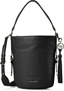 Michael Kors 30S9GOKM2L-001 Brooke Medium Pebbled Leather Bucket Bag, Black