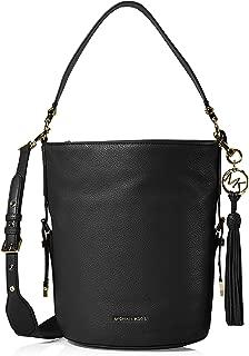 Brooke Pebble Leather Bucket Shoulder Bag (Black)