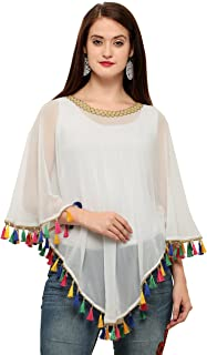 c1ecda5c6f9e2d CHAKUDEE Women's Georgette Digital Printed Tassel Lace Poncho Cape Top