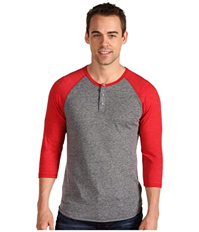 Alternative 3/4 Raglan Henley (Eco Grey/True Red) Men