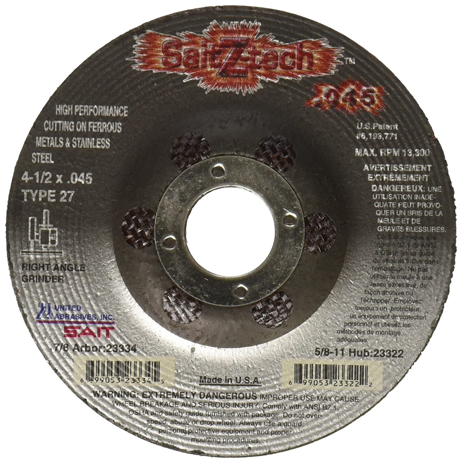 United Abrasives-SAIT 23334 Type 27 4-1/2 x .045-Inch x 7/8-Inch Z-Tech High Performance Cutting Wheels, 50-Pack
