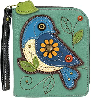 Chala Blue Bird Zip-Around Wristlet Wallet - Bird Lover Gift